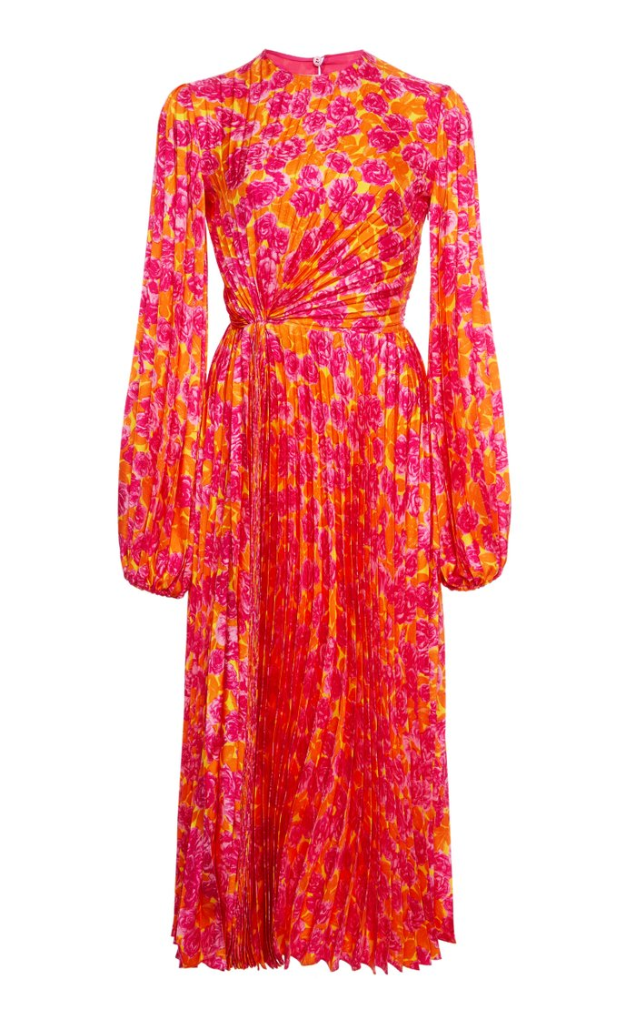 Pleated Floral Silk Midi Dress