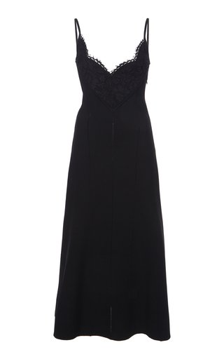 Lace-Detailed Crepe Midi Dress