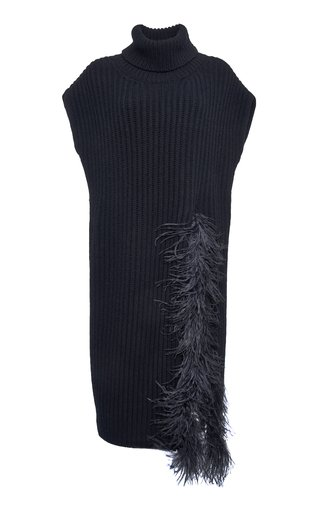 Feather-Trimmed Wool-Cashmere Turtleneck Top