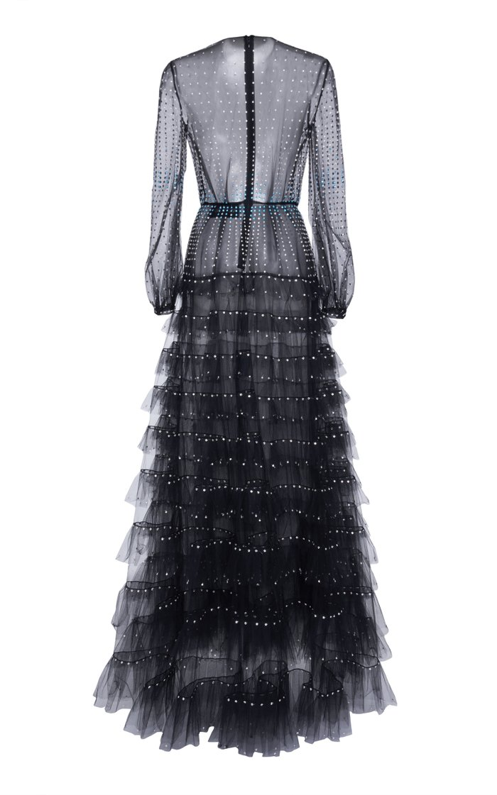 Crystal-Embellished Ruffled Tulle Gown
