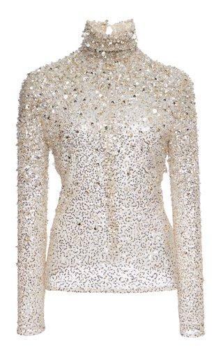 Sequin-Embellished Tulle Turtleneck Top