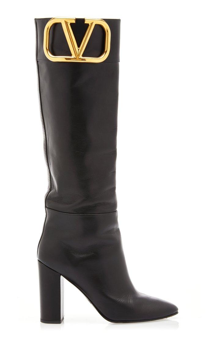 Valentino Garavani SuperVee Leather Knee-High Boots