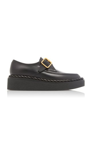 Valentino Garavani Rope Leather Monk-Strap Platform Loafers