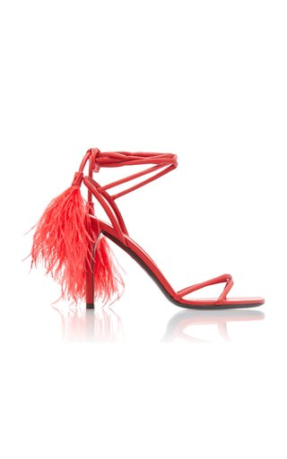 Valentino Garavani Upflair Feather-Embellished Leather Sandals