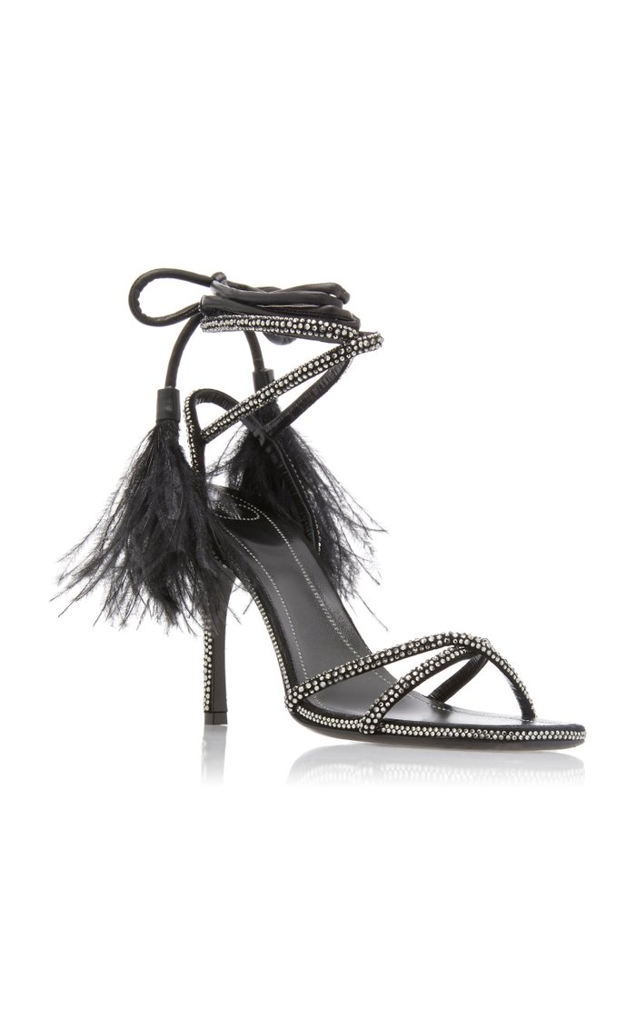 Valentino Garavani Upflair Feather-Trimmed Crystal-Embellished Suede Sandals