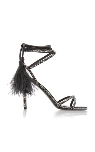 Valentino Garavani Upflair Feather-Trimmed Crystal-Embellished Suede Sandals