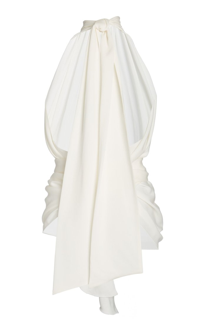 Abitata High-Neck Belted Silk Top