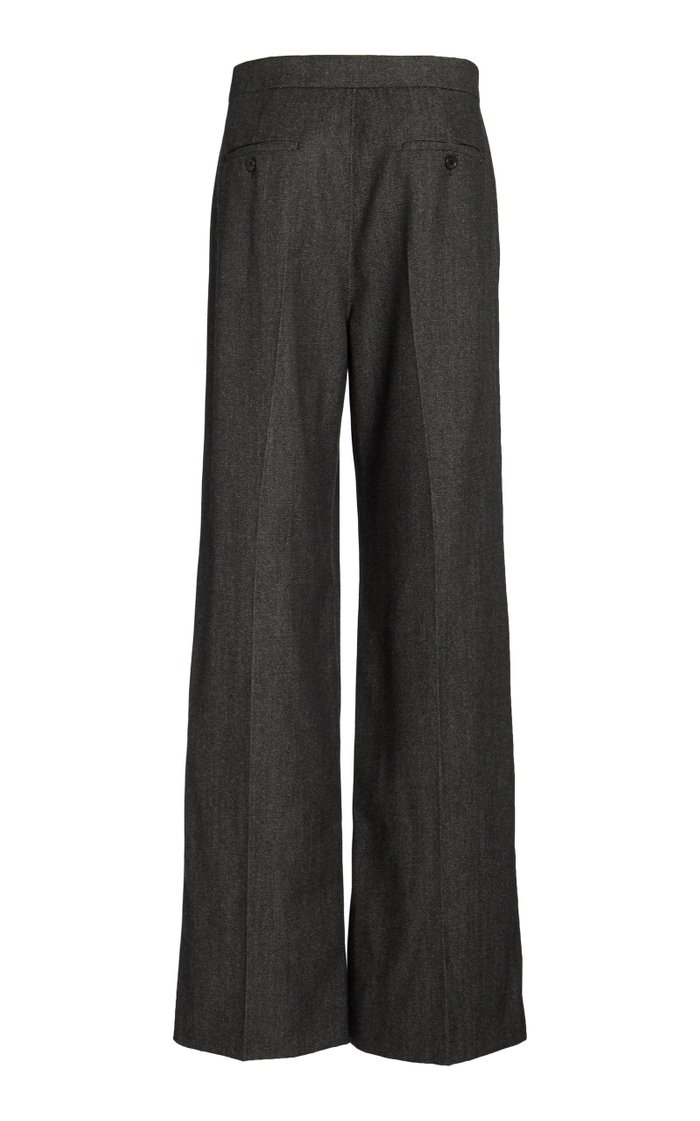 Pomez Pleated Wool Wide-Leg Pants