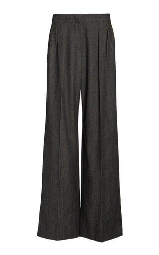 Pomez Pleated Wool Wide-Leg Pants