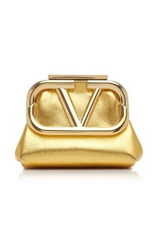 Valentino Garavani Supervee Metallic Leather Mini Clutch