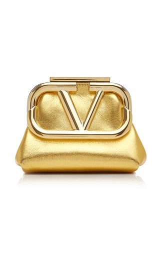 Valentino Garavani Supervee Metallic Leather Mini Clutch
