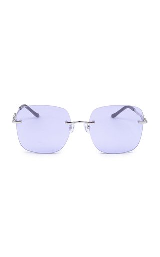 Karen Wazen Madison Oversized Square-frame Metal Sunglasses In Blue