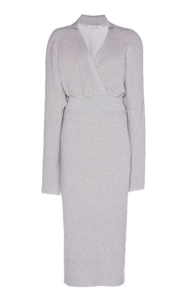 Cinched Waist Cashmere-Cotton Ribbed Dress