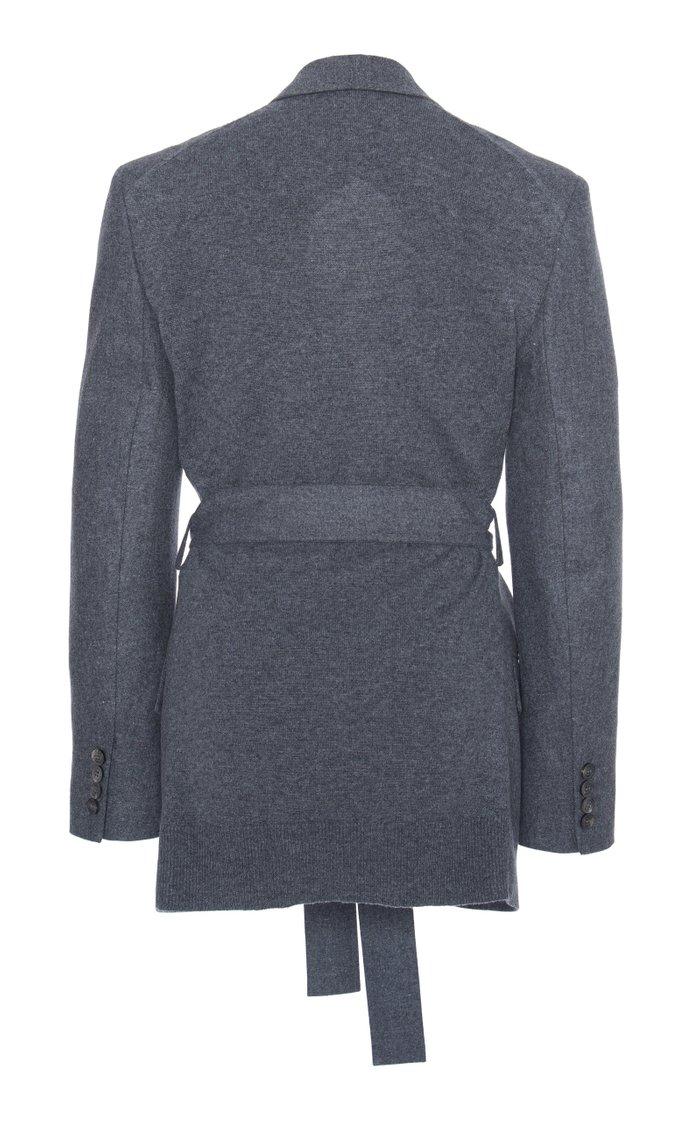 Belted Wool-Blend Blazer