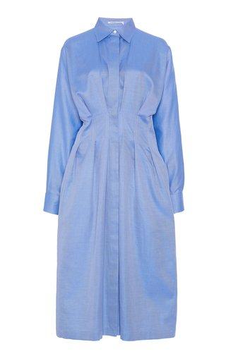 Pleated Cotton Twill Dress