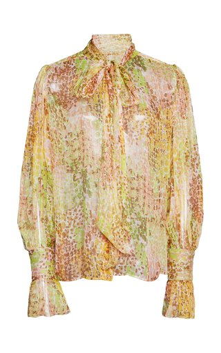 Tie-Detailed Printed Silk-Blend Lurex Blouse