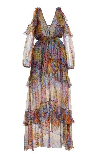 Printed Metallic-Silk Tiered Maxi Dress