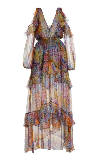 Printed Metallic-Silk Tiered Maxi Dress