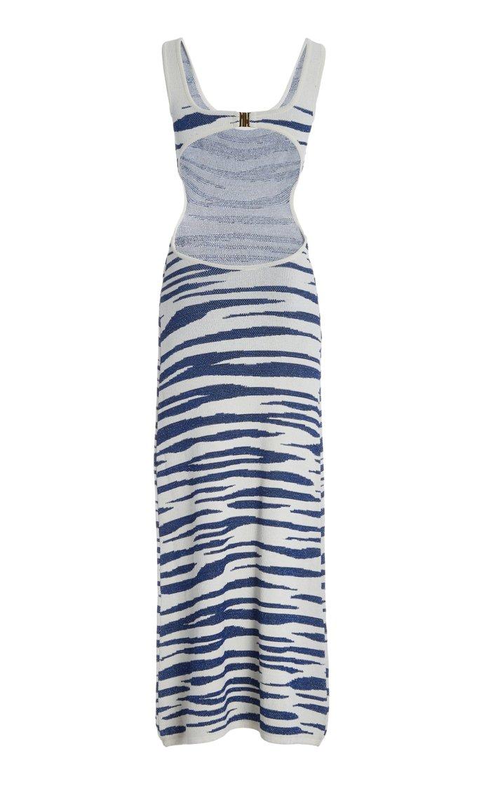 Cutout Zebra-Knit Maxi Dress