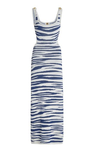 Cutout Zebra-Knit Maxi Dress