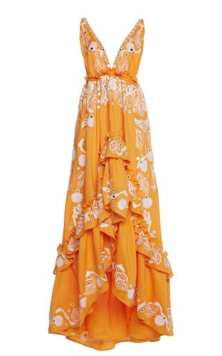 Embroidered Ramie Tiered Maxi Dress