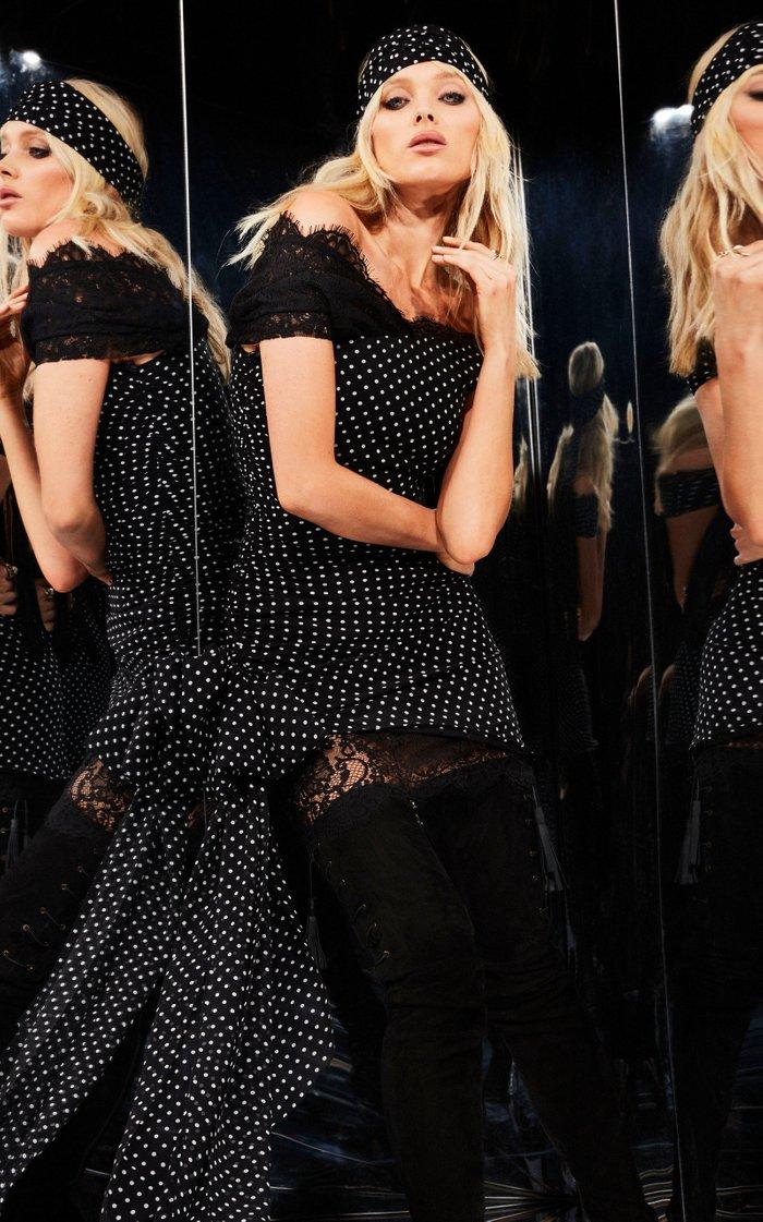 Lace-Trimmed Polka-Dot Silk Mini Dress