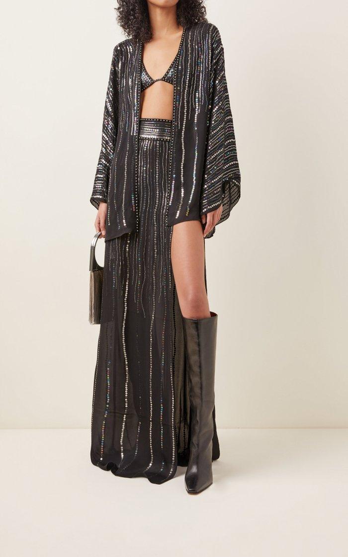 Sequin-Embellished Silk Bra Top