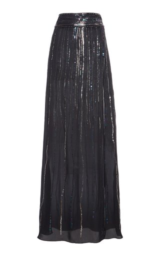 Sequin-Embellished Silk Georgette Maxi Skirt