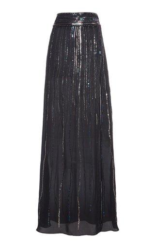 Sequin-Embellished Silk Georgette Maxi Skirt