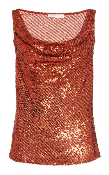 Cowl Neck Sequined Top
