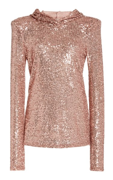 Hooded Sequined Top