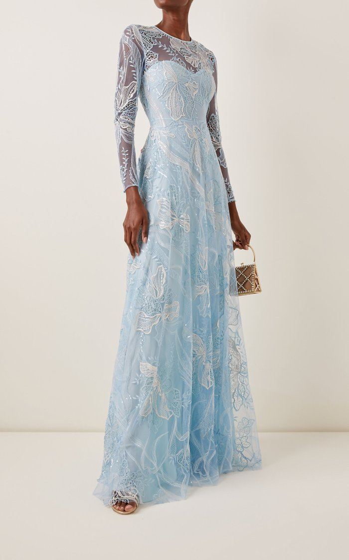 Sequined Leavers Lace Gown