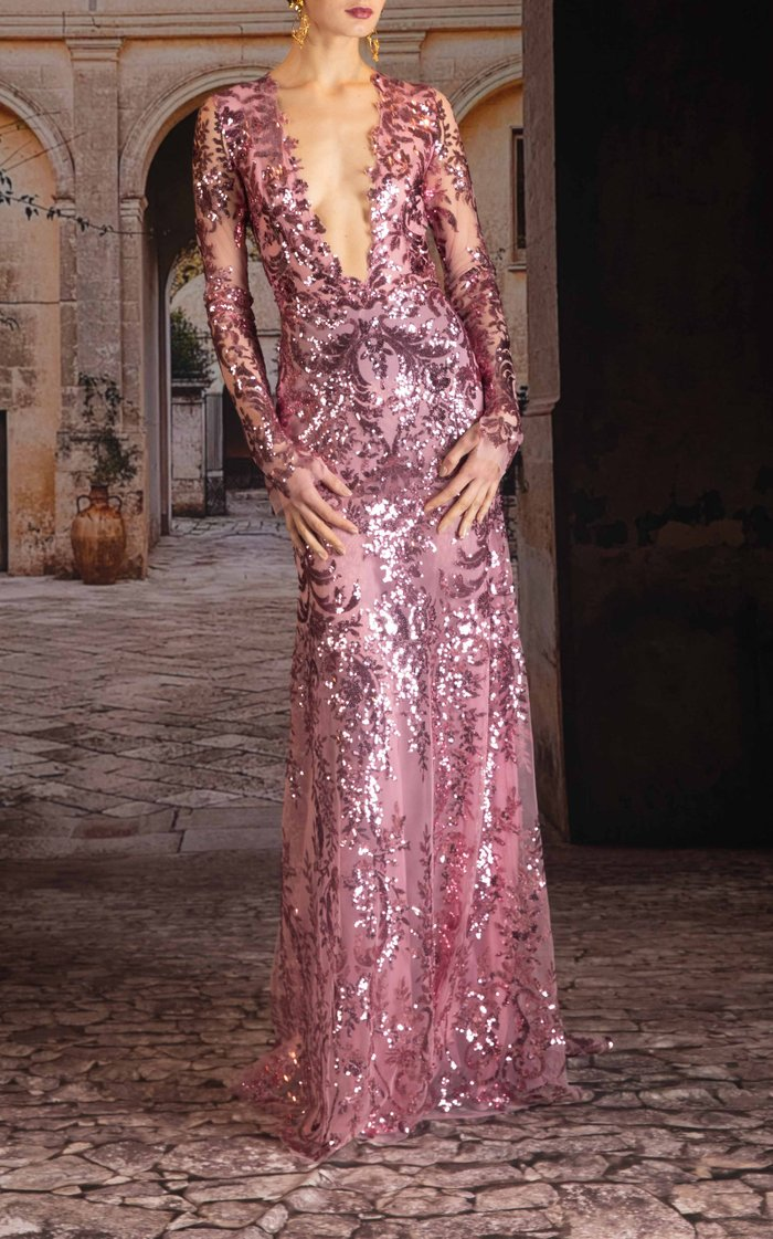 Sequined Chiffon Gown