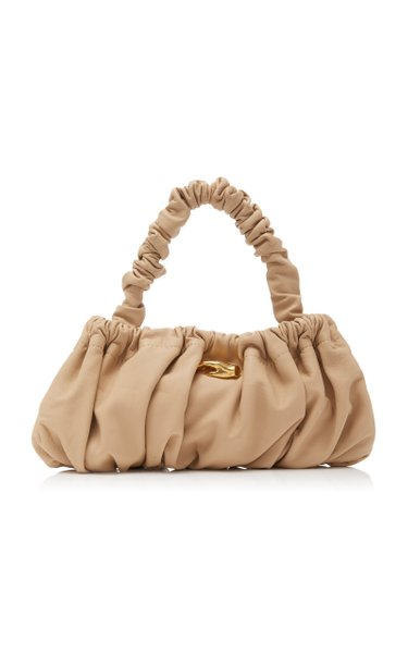 Pierre Ruched Leather Top Handle Bag