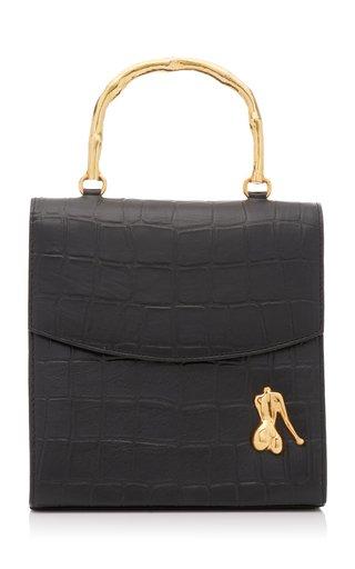 Claude Croc-Effect Leather Top Handle Bag
