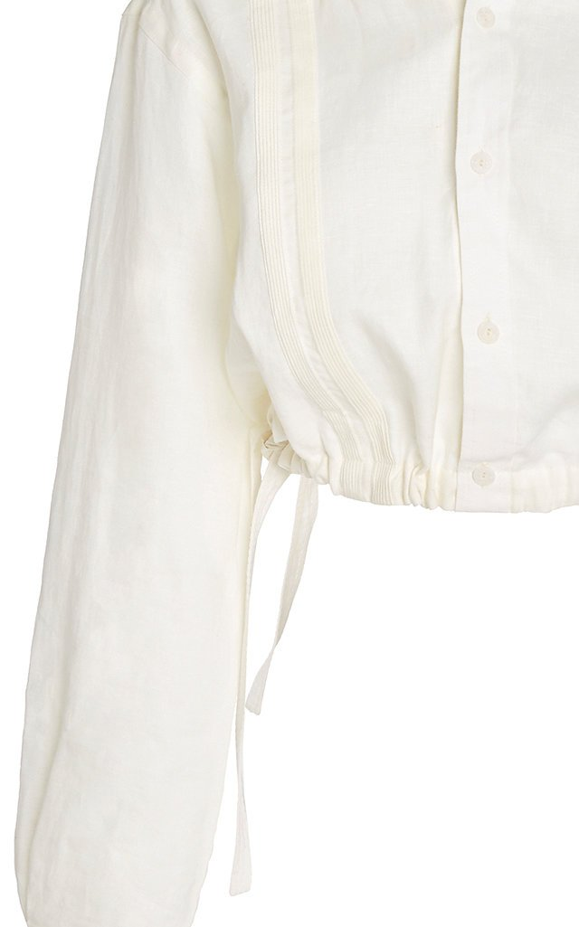 Ecru Cuban Towns Cropped Linen Shirt