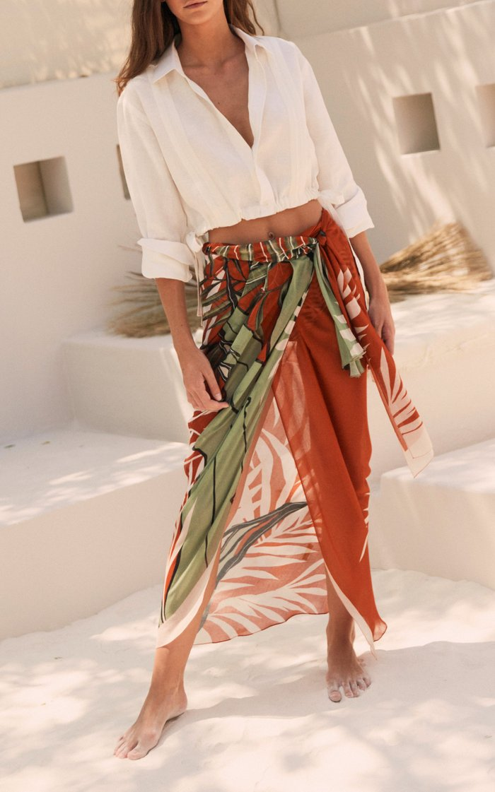 Wrap In The Salt Printed Jersey Wrap Skirt