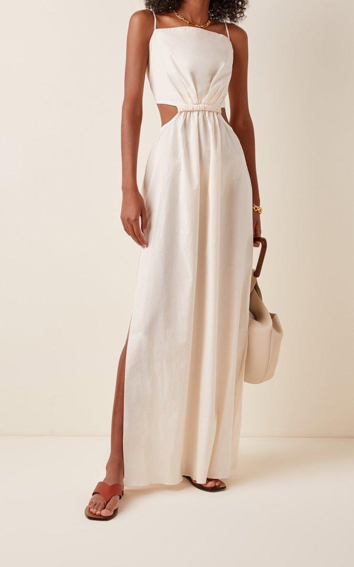 White Sand Tie-Back Cotton-Blend Maxi Dress