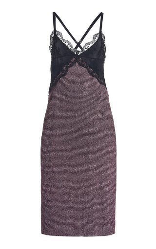 Lace-Trimmed Crystal Mesh Midi Dress
