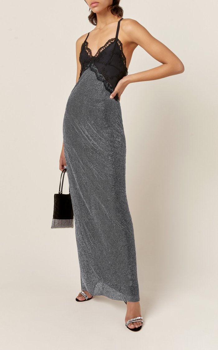 Lace and Crystal Mesh Slip Dress
