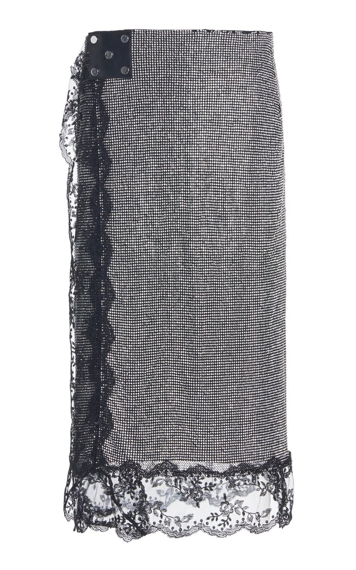 Lace-Trimmed Crystal Mesh Midi Skirt