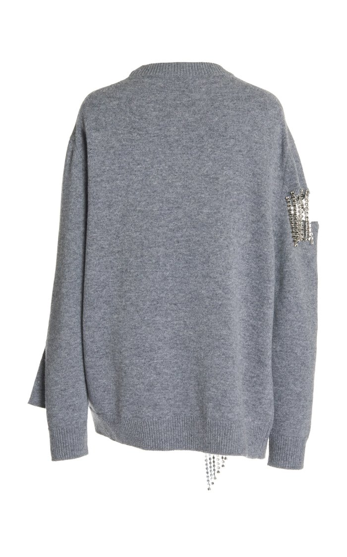 Cutout Chain-Embellished Virgin Wool Sweater