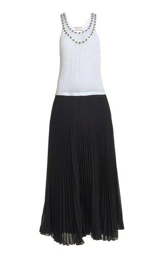 Crystal-Embellished Netted Pleated Midi Dress