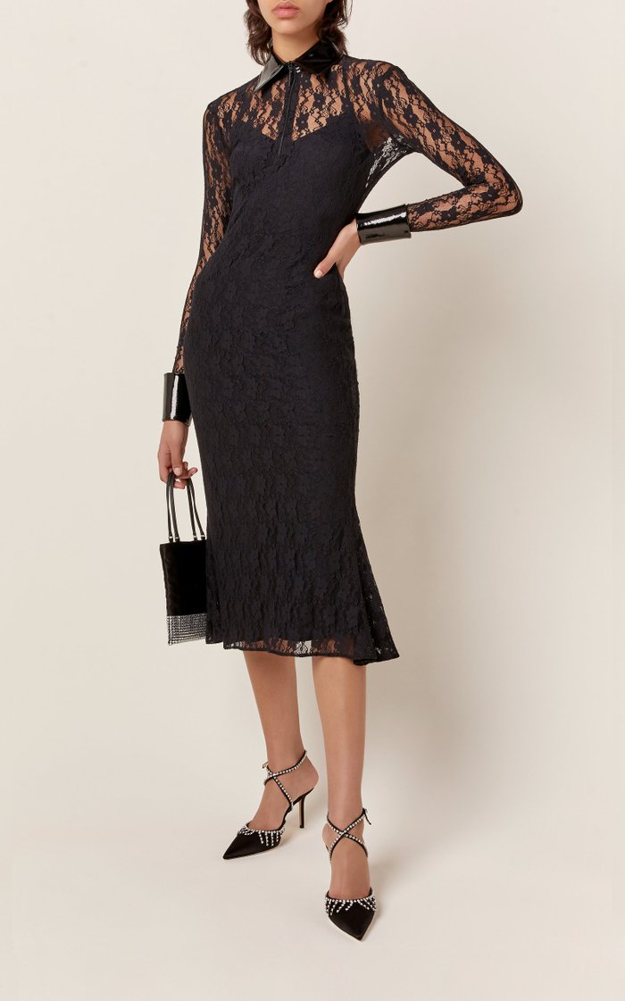 Bell-Sleeve Lace Midi Dress