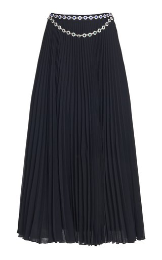 Crystal Belted Pleated Cady Midi Skirt