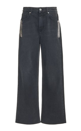 Crystal Fringe Rigid Mid-Rise Wide-Leg Jeans