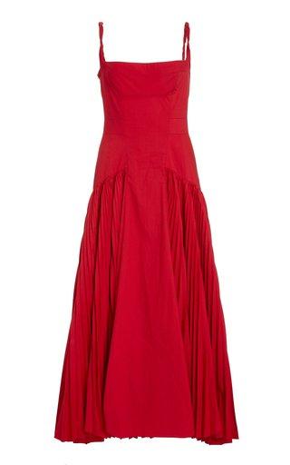 Pleated Poplin Maxi Dress