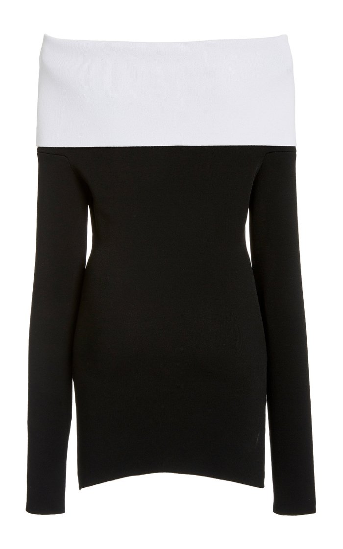 Off-The-Shoulder Two-Tone Stretch-Jersey Top