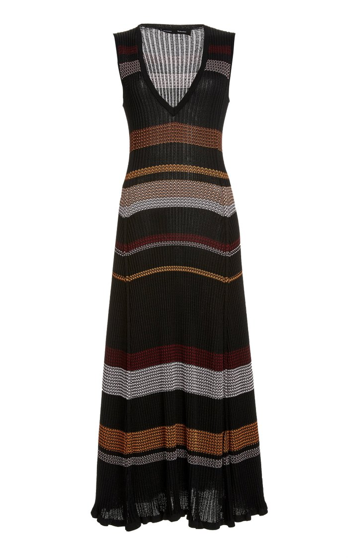 Striped Ribbed-Knit Maxi Dress