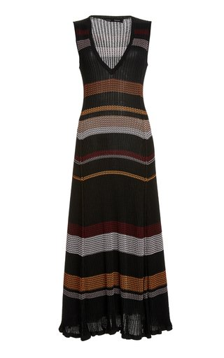 Striped Ribbed-Knit Maxi Dress